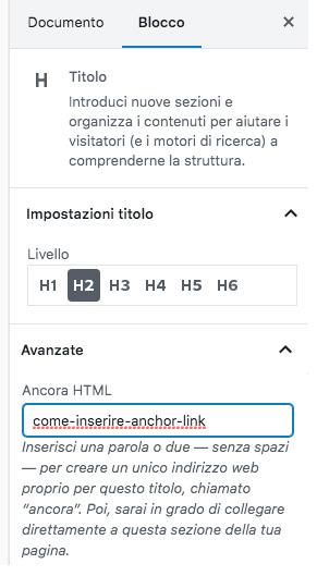 anchor link nella barra laterale di WordPress